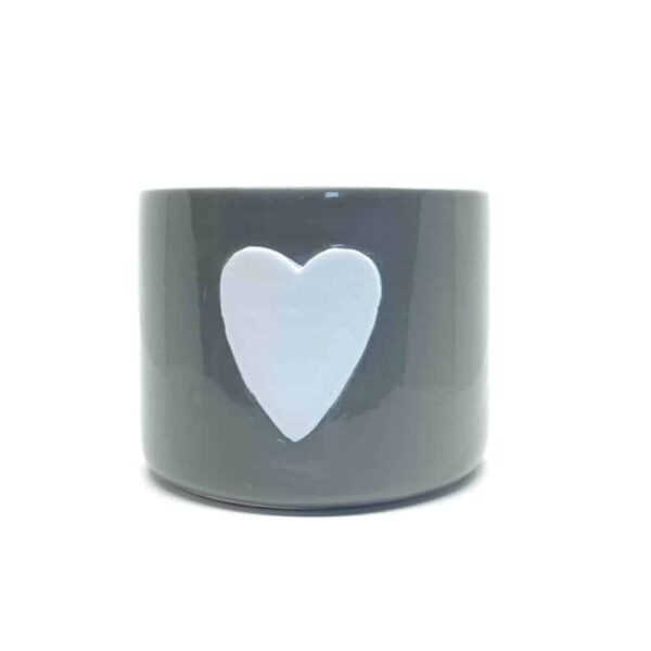 Large Grey Ceramic Pot With White Heart
