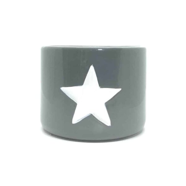 Large Grey Ceramic Pot With White Star