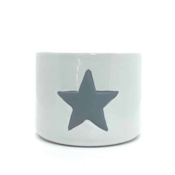 Large White Ceramic Pot With Grey Star