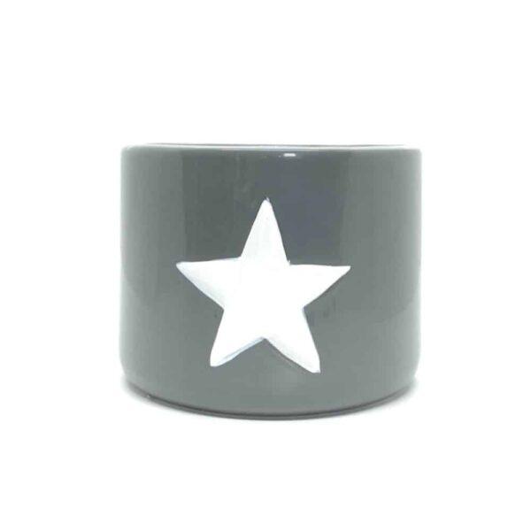 Medium Grey Ceramic Pot With White Star