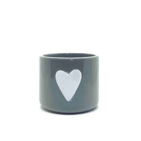 small grey ceramic pot with heart