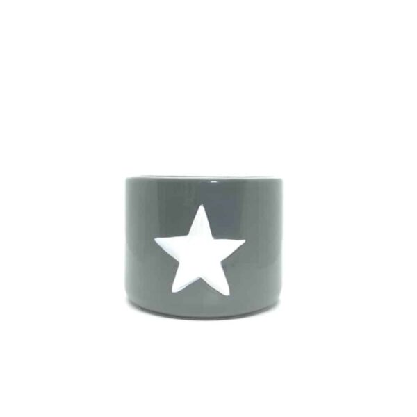 Small Grey Ceramic Pot With White Star