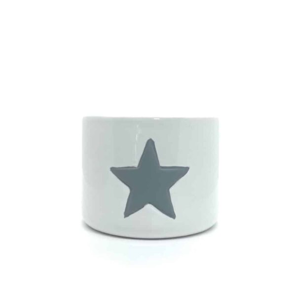 Small White Ceramic Pot With Grey Star