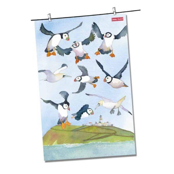 coastal puffins tea towel