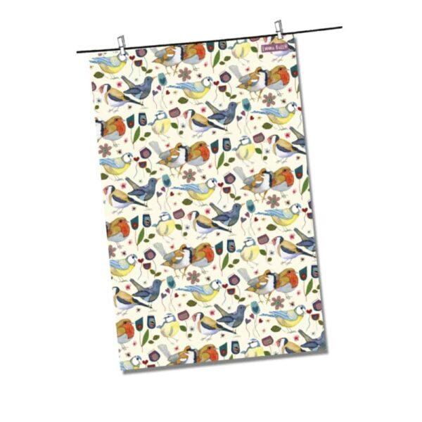 stitched birdies tea towel