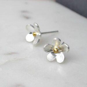 Matt Sterling Silver Flower Stud Earrings