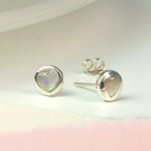 Pearl Heart Sterling Silver Stud Earrings