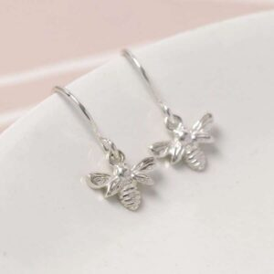 Tiny Bee Sterling Silver Earrings