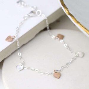 Rose Gold And Sterling Silver Hearts Bracelet
