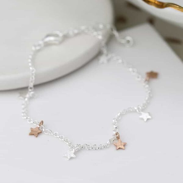 Rose Gold and Sterling Silver Stars Bracelet