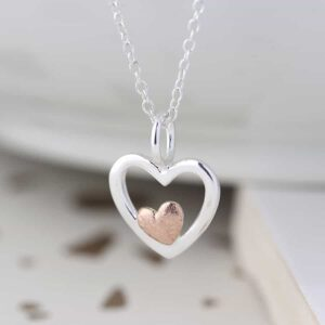 Rose Gold and Sterling Silver Heart Necklace