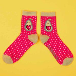 Pink Avocado Ankle Socks