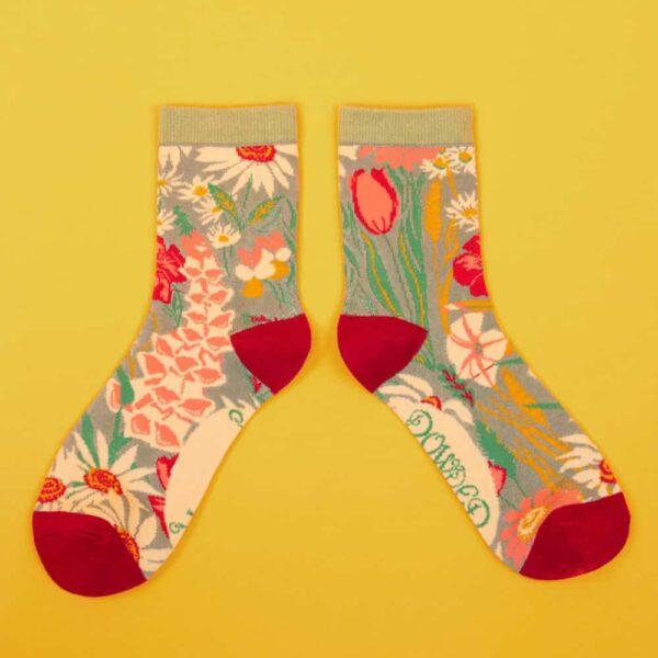 Mint Country Garden Ankle Socks
