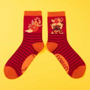 Floral Pug Ankle Socks