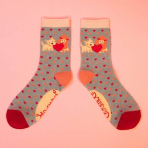 Puppy and Love Hearts Ankle Socks