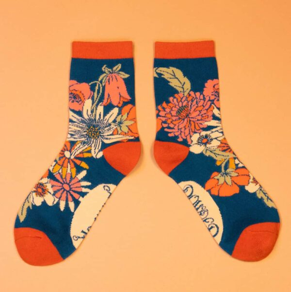 Retro Meadow Teal Ankle Socks