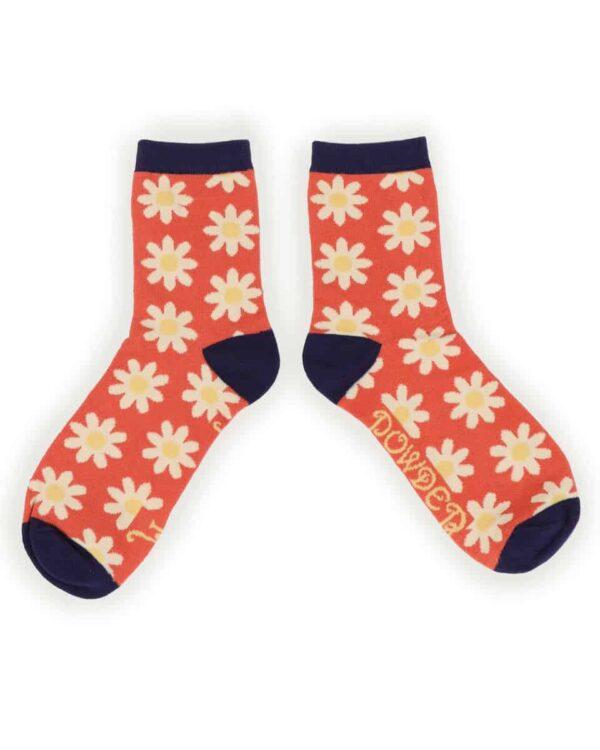 Daisy Tangerine Ankle Socks