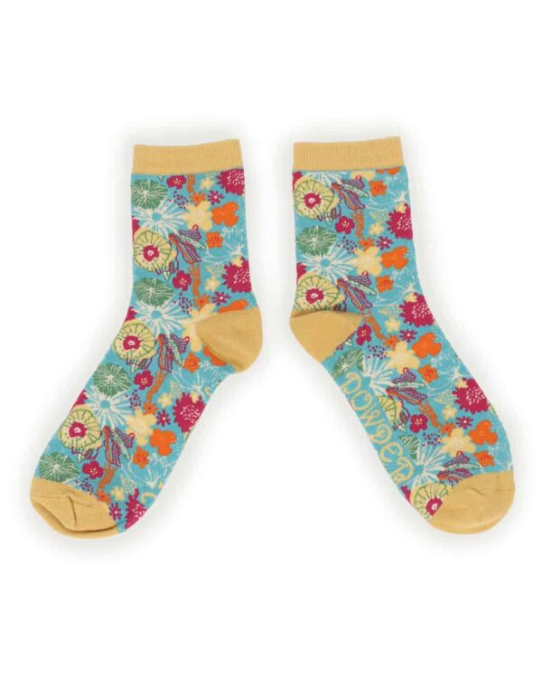 Turquoise Floral Ankle Socks