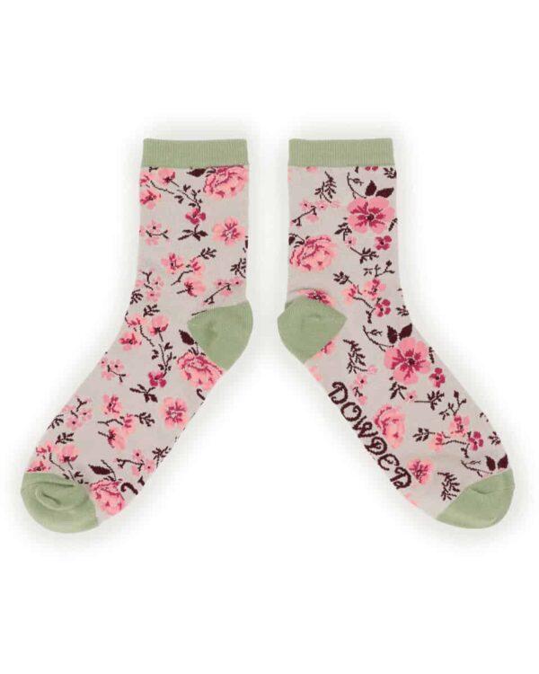 pink blossom ankle sock