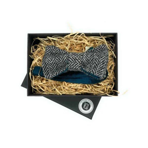 black white tweed bow tie