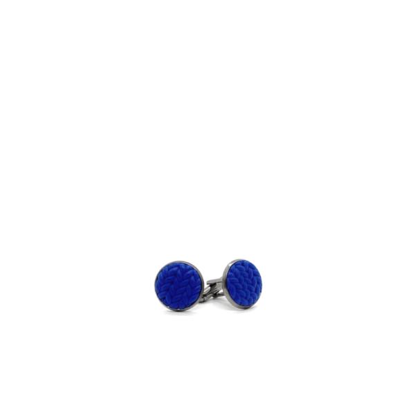 knitted look blue cufflinks