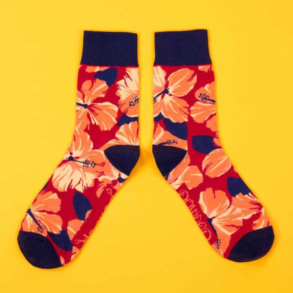 Men's Hibiscus Floral Socks