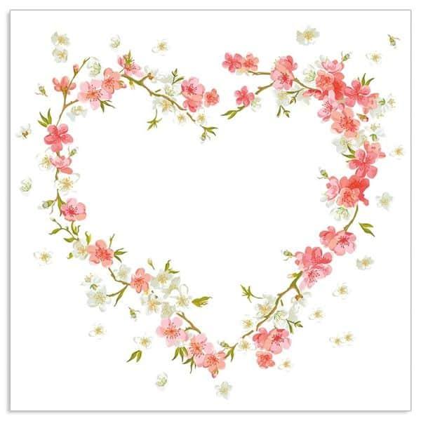 Pink Blossom Heart Napkins