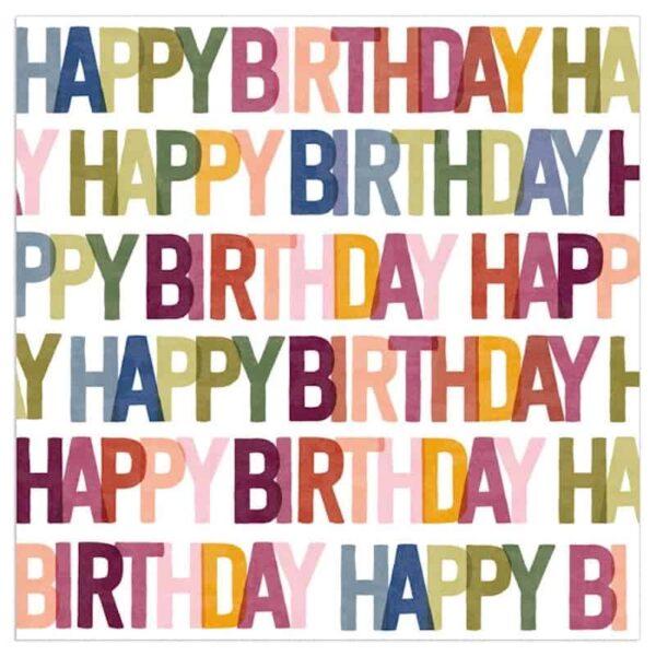 Bold Coloured Happy Birthday Napkins