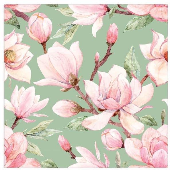 Pink Magnolia and Sage Napkins