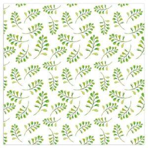 Green And White Leaf Napkins