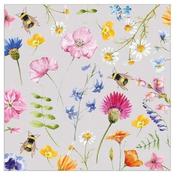 Meadow Flowers And Bee Napkins
