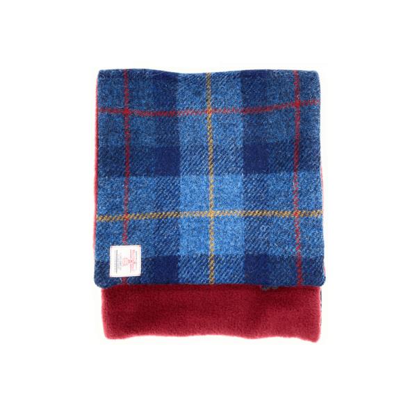 blue double sided harris tweed scarf