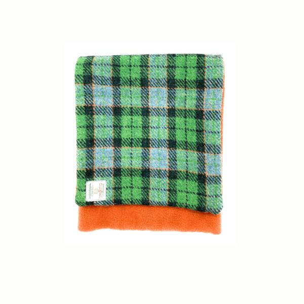 green double sided harris tweed scarf