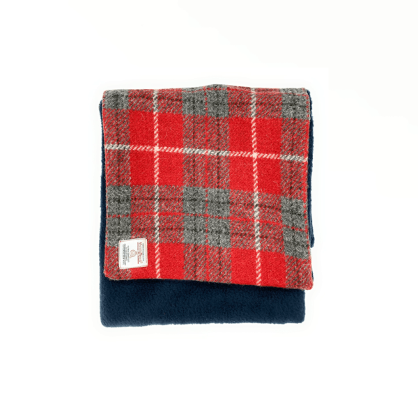 red double sided harris tweed scarf