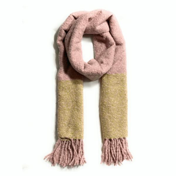 pale pink beige winter scarf