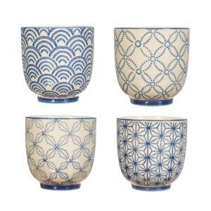 shashiko patterned cups
