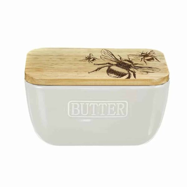 Bee Oak And Ceramic Butter Dish