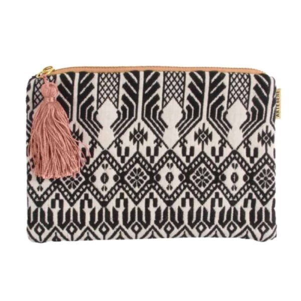black and white pattern cosmetic bag