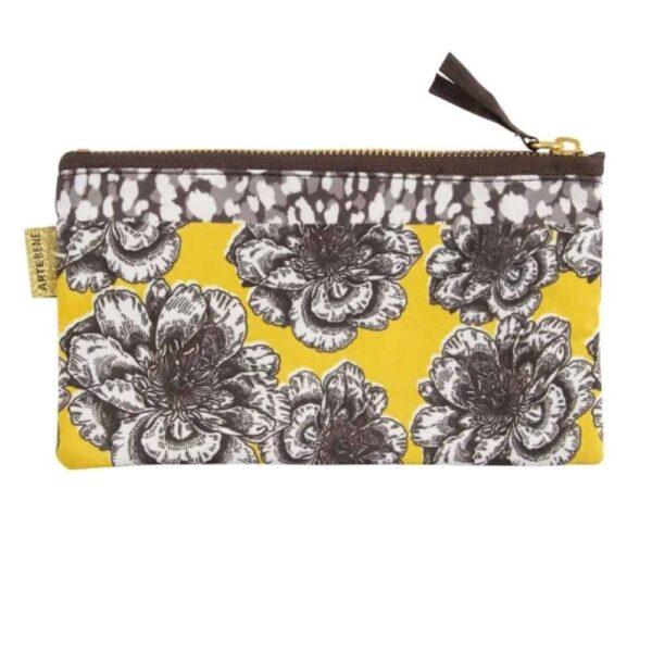 yellow floral make up bag