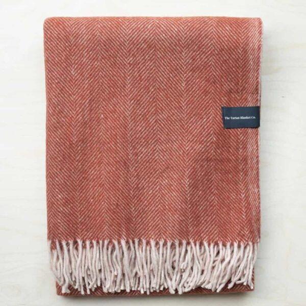 rust herringbone recycled wool blanket