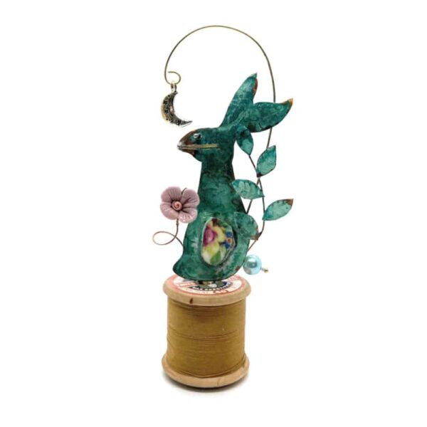 hare and moon bobbin assemblage