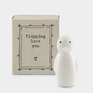 flipping love you ceramic penguin