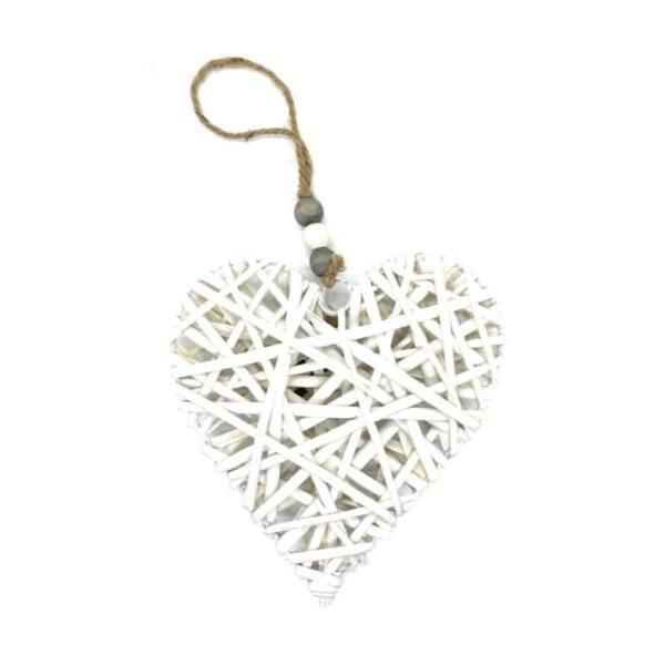 medium white wicker heart