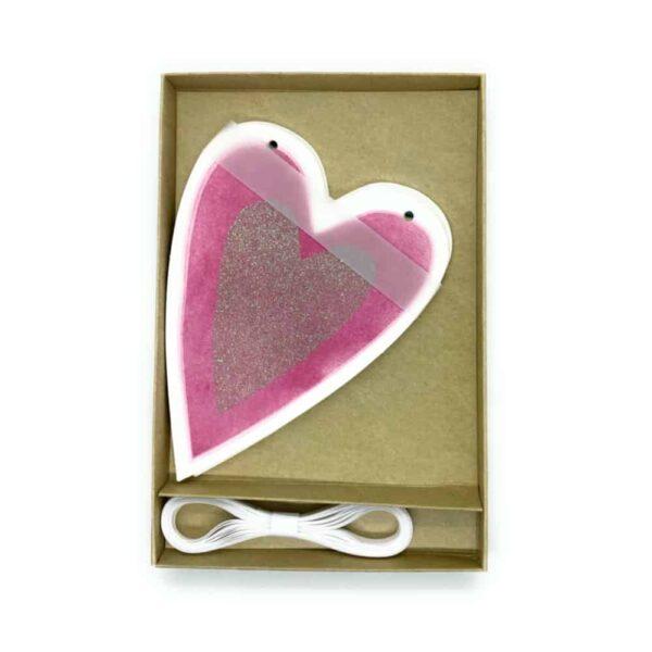 multi coloured hearts garland